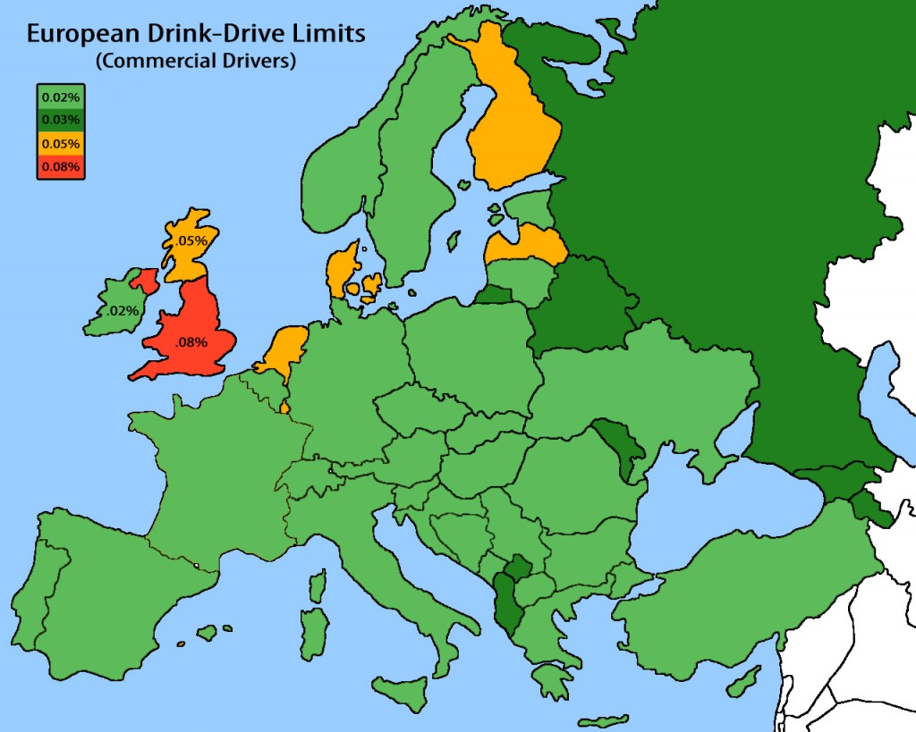 Novice drivers drink drive limits Europe