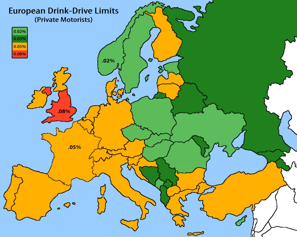 Drink drive limits Europe