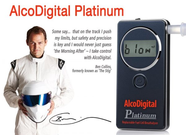 AlcoDigital Platinum breathalyzer and Stig Ben collins