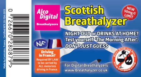 Single use Scottish breathalyzer